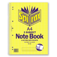 SPIRAX 596 SIDE OPENING A4 5 SUBJECT SPIRAL NOTEBOOK 250 PAGES