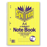 SPIRAX 606 SIDE OPENING 4 SUBJECT A4 SPIRAL NOTEBOOK 320 PAGES
