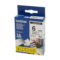 BROTHER TZE-211 6mm BLACK ON WHITE LAMINATED LABELLING TAPE
