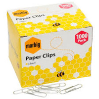 MARBIG PAPER CLIPS GIANT ROUND 50mm B1000