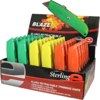 STERLING BLAZE METAL SAFETY RETRACTABLE STANLEY TYPE CUTTER KNIFE