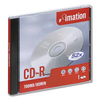 IMATION CDR WHITE INKJET PRINTABLE 80MIN SLIMLINE JEWEL CASE PACK 10