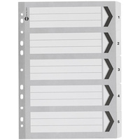 MARBIG 35111 DIVIDERS INDEX A4 BLACK AND WHITE 1-5 TAB