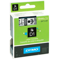 DYMO 45800 D1 LABEL TAPE 19mm x 7m BLACK ON CLEAR