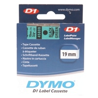 DYMO 45809 D1 LABEL TAPE 19mm x 7m BLACK ON GREEN