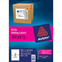 AVERY 959008 L7168 LASER LABELS SHIPPING 2 PER SHEET WHITE PACK 100