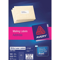 AVERY 959061 L7156 LASER LABELS ADDRESS 45 PER SHEET WHITE PACK 100