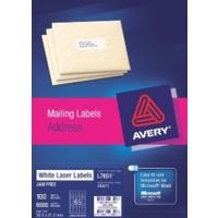 AVERY 959071 L7651 LASER LABELS ADDRESS 65 PER SHEET WHITE PACK 100