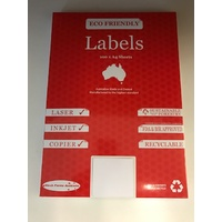 AUSSIE ECO FRIENDLY A4 LABELS 1UP PACK 100