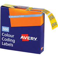 AVERY 43205 E SIDE TAB COLOUR CODING LABELS YELLOW PACK 500